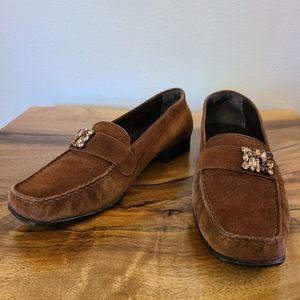 Stuart Weizman Suede Jeweled Embellished Loafers